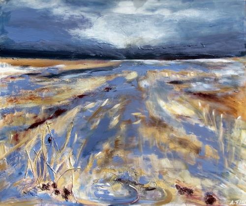 Andrea Finck, Marschlandschaft, Landschaft, Natur, Gegenwartskunst, Expressionismus