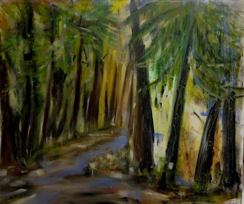 Andrea Finck, Ein Gefühl für Wald oder Hambacher Forst, Landschaft: Sommer, Natur: Wald, Expressionismus
