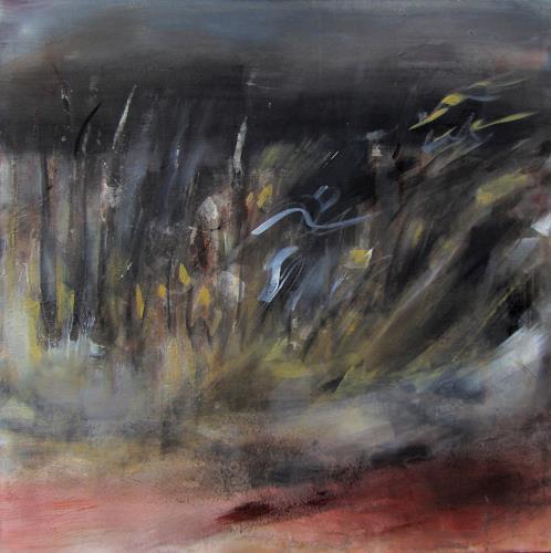 Andrea Finck, Sträucher im Wind, Landschaft: See/Meer, Diverse Pflanzen, Naturalismus