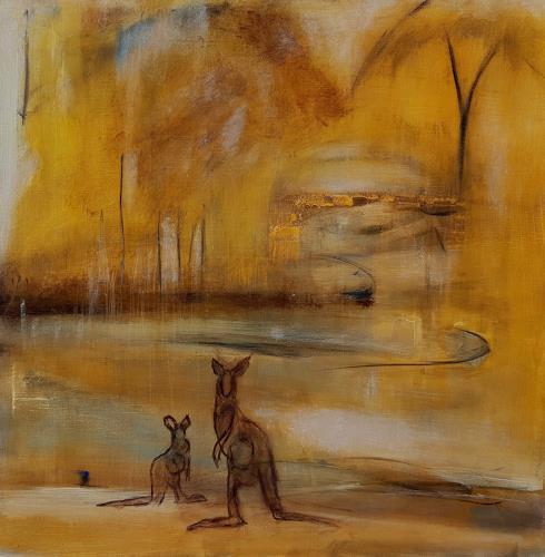 Andrea Finck, Kangaroo, Landschaft: Sommer, Tiere: Land, Gegenwartskunst