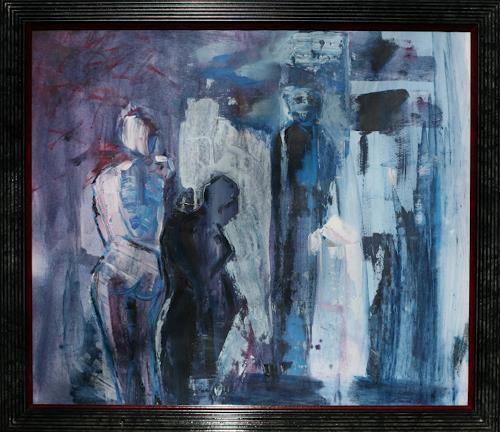 Andrea Finck, Figurengruppe blau, Diverses, Menschen: Gruppe, Gegenwartskunst
