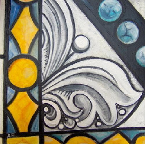 Andrea Finck, Ausschnitt eines Kirchenfensters, Diverses, Bauten: Kirchen, Gegenwartskunst
