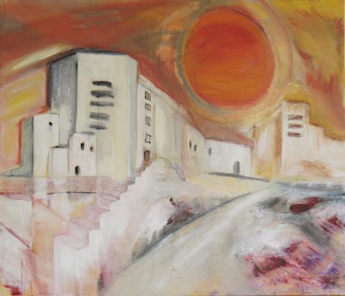Andrea Finck, Stadt, expressiv, Architektur, Abstraktes, Expressionismus
