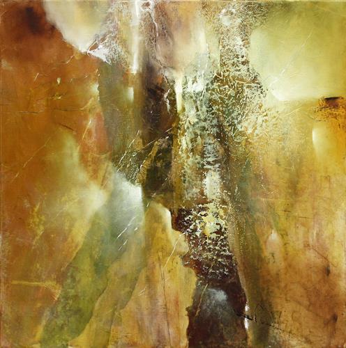 Annette Schmucker, Komposition in grün und braun, Abstraktes, Gegenwartskunst, Expressionismus