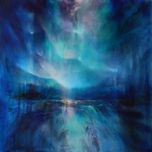 Annette Schmucker, Nordlicht II, Landschaft: Winter, Gegenwartskunst, Expressionismus