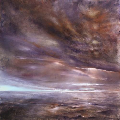 Annette Schmucker, In einer Stunde, Landschaft: See/Meer, Romantik: Sonnenuntergang, Gegenwartskunst, Expressionismus