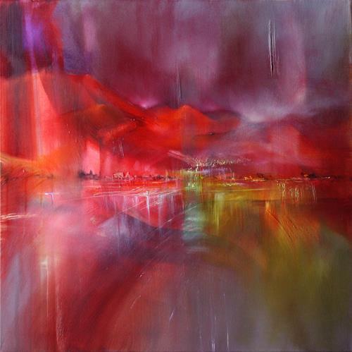 Annette Schmucker, Abend am See, Landschaft: See/Meer, Romantik: Sonnenuntergang, Gegenwartskunst, Expressionismus