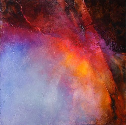 Annette Schmucker, Abstrakte Komposition in gelb, blau und rot, Abstraktes, Bewegung, Gegenwartskunst, Expressionismus