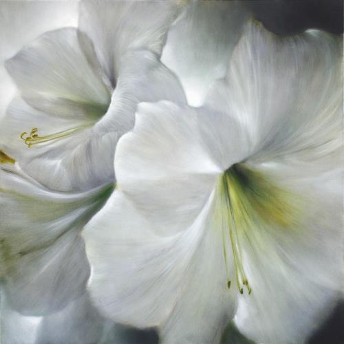 Annette Schmucker, Weiße Amaryllis im Gegenlicht, Pflanzen: Blumen, Gegenwartskunst, Expressionismus