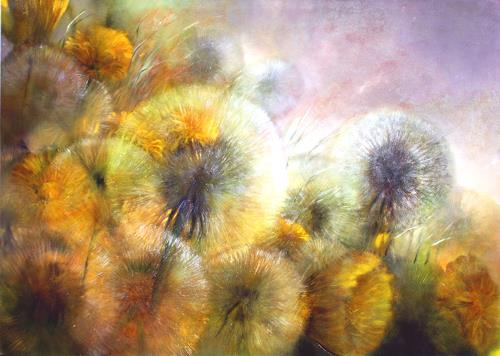 Annette Schmucker, Löwenzahn_, Landschaft: Frühling, Pflanzen: Blumen, Gegenwartskunst, Expressionismus