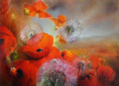 Annette Schmucker, Mohnblumenwiese mit Pusteblumen, Natur, Pflanzen, Gegenwartskunst, Expressionismus