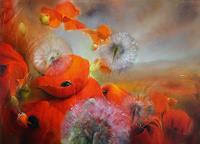 A. Schmucker, Mohnblumenwiese mit Pusteblumen