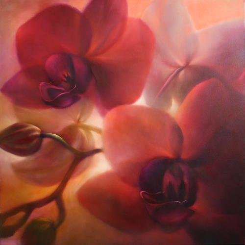 Annette Schmucker, Orchideen, rotviolett, Dekoratives, Pflanzen, Gegenwartskunst, Expressionismus