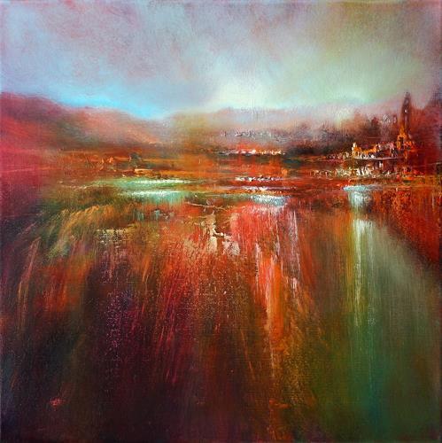 Annette Schmucker, unten am Fluss, Landschaft, Landschaft, Gegenwartskunst, Expressionismus