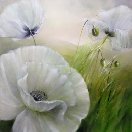 Annette Schmucker, Weißer Mohn, Pflanzen: Blumen, Landschaft: Frühling, Gegenwartskunst, Expressionismus