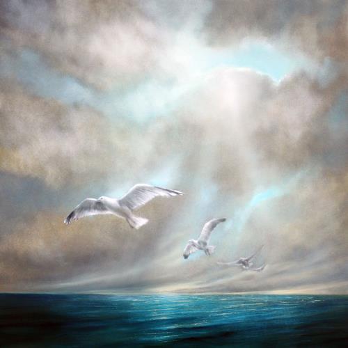 Annette Schmucker, Frei sein, Landschaft: See/Meer, Natur: Wasser, Hyperrealismus, Expressionismus