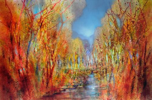 Annette Schmucker, Bunt sind schon die Wälder, Landschaft, Landschaft: Herbst, Gegenwartskunst, Expressionismus