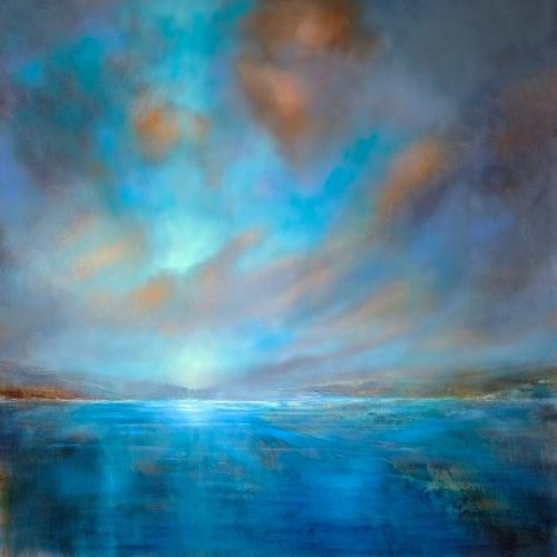 Annette Schmucker, Blaue Weite, Landschaft: See/Meer, Landschaft: Sommer, Gegenwartskunst, Expressionismus
