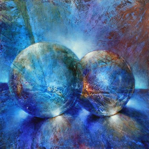 Annette Schmucker, Zwei blaue Murmeln, Abstraktes, Fantasie, Action Painting, Expressionismus