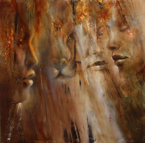 Annette Schmucker, Faces, Menschen: Gesichter, Menschen: Porträt, Neo-Impressionismus, Expressionismus