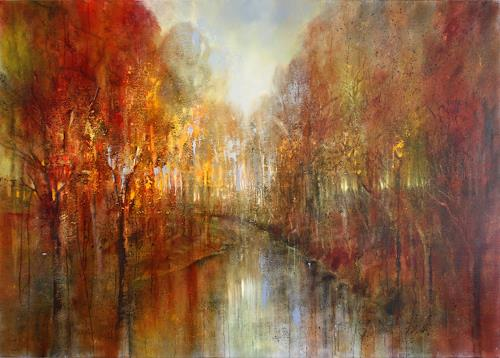 Annette Schmucker, And the forests will echo with laughter, Landschaft: Herbst, Landschaft: Berge, Neo-Impressionismus, Expressionismus
