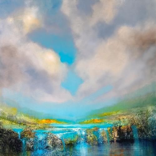 Annette Schmucker, Am Wasserfall, Landschaft: Berge, Landschaft: See/Meer, Gegenwartskunst, Expressionismus