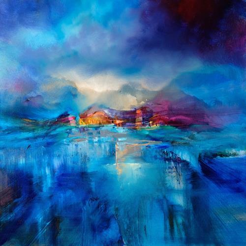 Annette Schmucker, Winterabend, Landschaft: Winter, Landschaft: Berge, Gegenwartskunst, Expressionismus