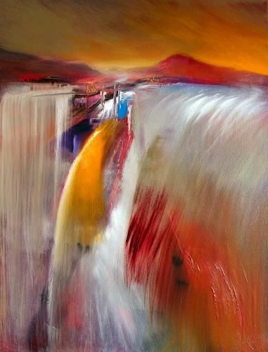 Annette Schmucker, Wasserfall, Abstraktes, Diverse Landschaften, Gegenwartskunst, Expressionismus