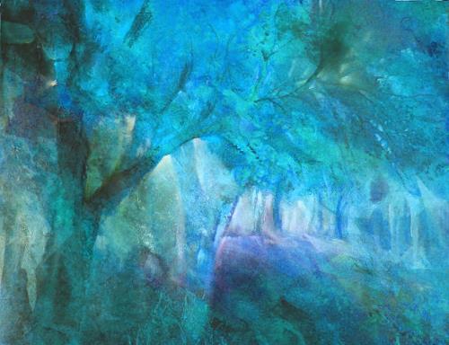 Annette Schmucker, Blauer Herbstwald II, Pflanzen: Bäume, Gegenwartskunst