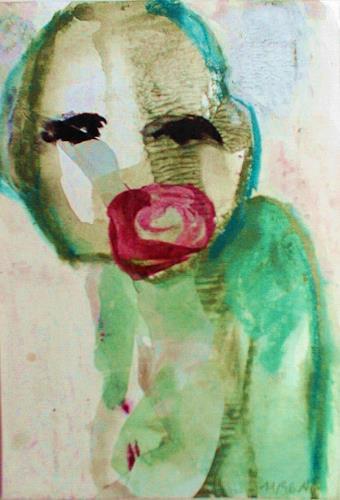 Annette Kunow, Grüne Figur, Abstraktes, Neo-Expressionismus, Abstrakter Expressionismus