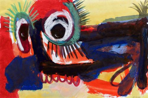 Annette Kunow, Der blaue Geisterseher, Abstraktes, Neo-Expressionismus