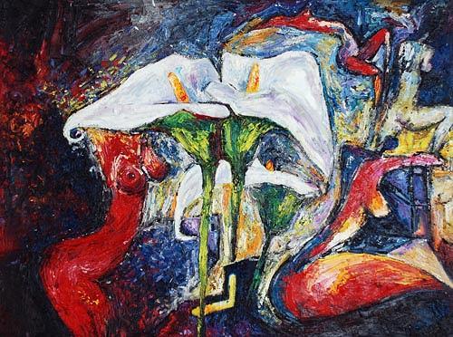 Renu G., Flowerpower I, Akt/Erotik: Akt Frau, Pflanzen: Blumen, Moderne