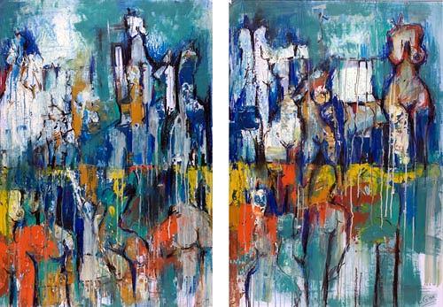 Renu G., People II 2-teilig / 2-piece, Menschen: Gruppe, Dekoratives, Moderne