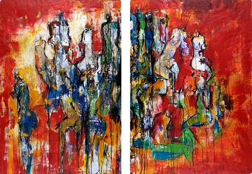 Renu G., People I (2-teilig / 2-Piece), Menschen: Gruppe, Dekoratives, Moderne