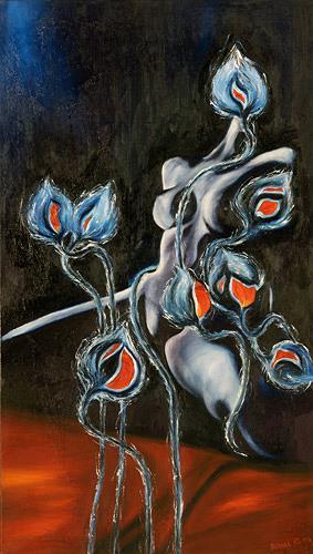 Renu G., Waiting for sunshine, Akt/Erotik: Akt Frau, Pflanzen: Blumen, Moderne