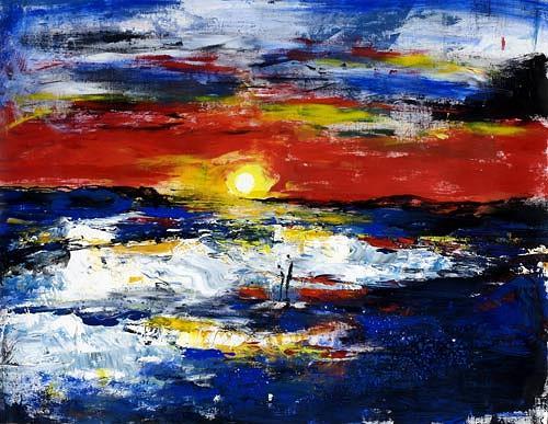 Renu G., Enjoy the sunset, Landschaft: See/Meer, Bewegung, Moderne