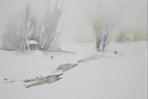 Christina Kläfiger, Geborgen, Landschaft: Winter, Abstrakter Expressionismus