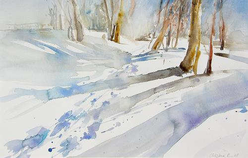 Christina Kläfiger, Winterland, Landschaft: Winter, Landschaft: Hügel, Expressionismus