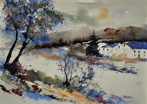 pol ledent, watercolor 212062, Landschaft: Winter, Impressionismus