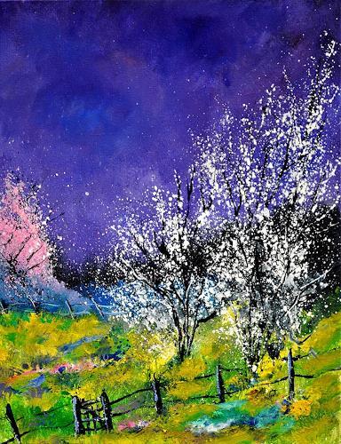 pol ledent, spring 452140, Landschaft: Frühling, Gegenwartskunst