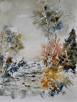 pol-ledent-1-Landschaft-Herbst-Pflanzen-Baeume-Moderne-Impressionismus-Neo-Impressionismus
