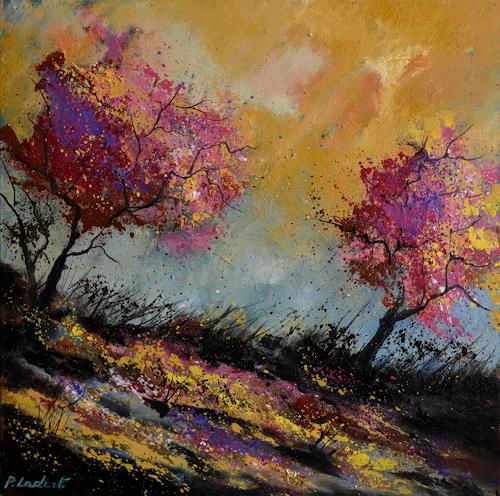 pol ledent, two oaks in autumn, Landschaft, Gegenwartskunst
