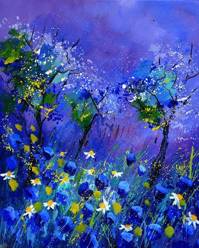 pol ledent, blue flowers 567160, Natur, Pflanzen: Blumen, Expressionismus