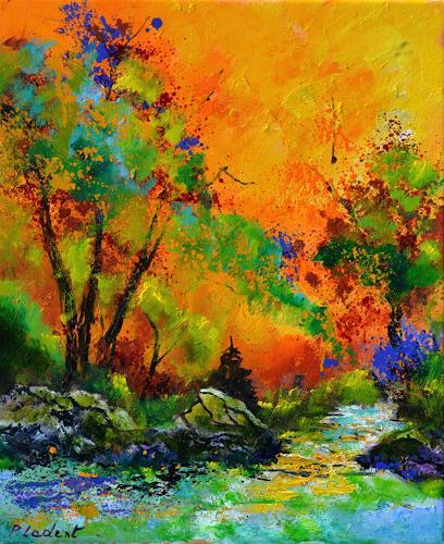 pol ledent, River in autumn 5671, Landschaft, Natur, Expressionismus