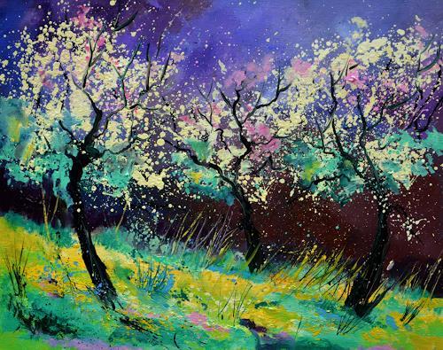 pol ledent, apple trees in blossom 65, Landschaft, Landschaft: Frühling, Neo-Impressionismus, Expressionismus