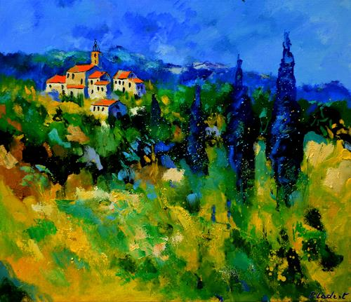 pol ledent, Village in Vaucluse, Landschaft, Landschaft: Sommer, Expressionismus