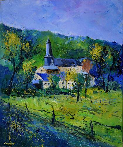 pol ledent, spring in Durbuy, Landschaft, Landschaft: Frühling, Postimpressionismus