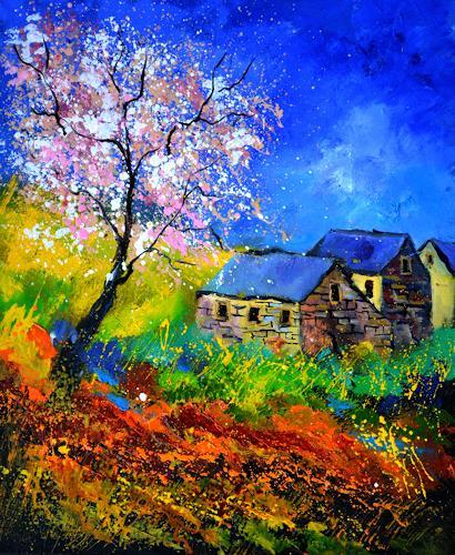 pol ledent, spring 566111, Natur, Landschaft, Neo-Impressionismus