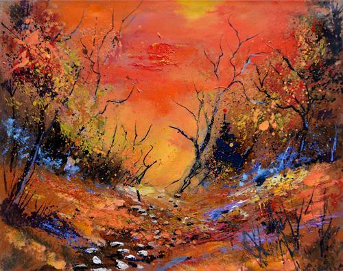 pol ledent, Moonshine in Autumn, Landschaft: Herbst, Fauvismus