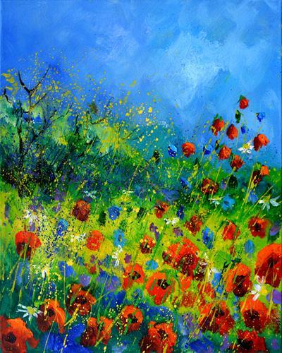 pol ledent, Poppies, Natur, Landschaft: Sommer, Impressionismus, Expressionismus
